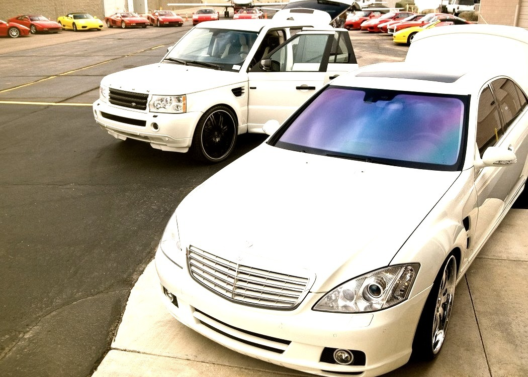 Modified Mercedes-Benz S-Class and Range Rover